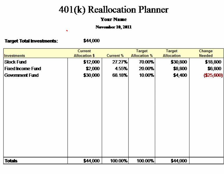 401(k) Reallocation Planner