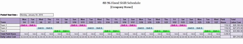 48-96 Fixed Shift Schedule