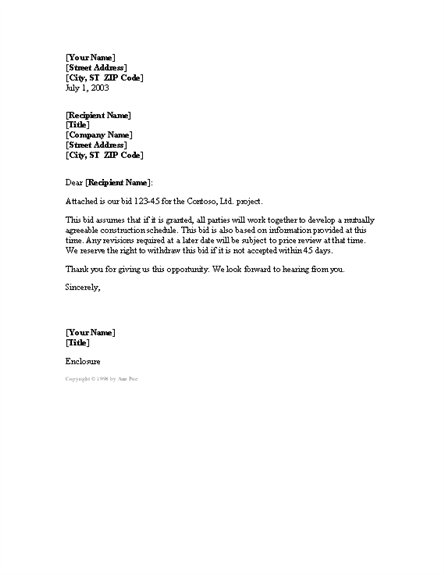 cover letter for project bid templates free download