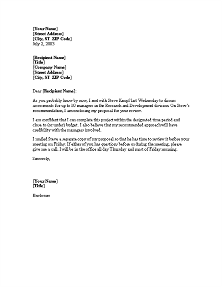 cover letter for proposal - Proposal Cover Letter