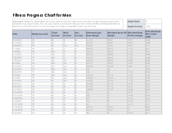 Fitness and weight loss chart for men free download
