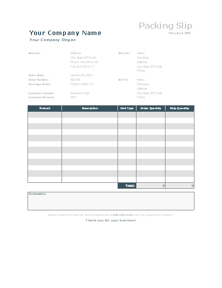 Packing slip free download