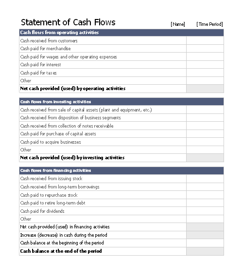 Statement of cash flows free download