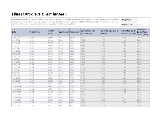 Fitness progress chart for men (metric) free download