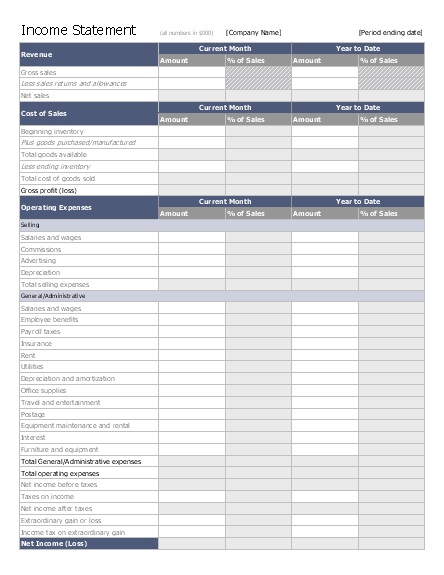 Income statement free download