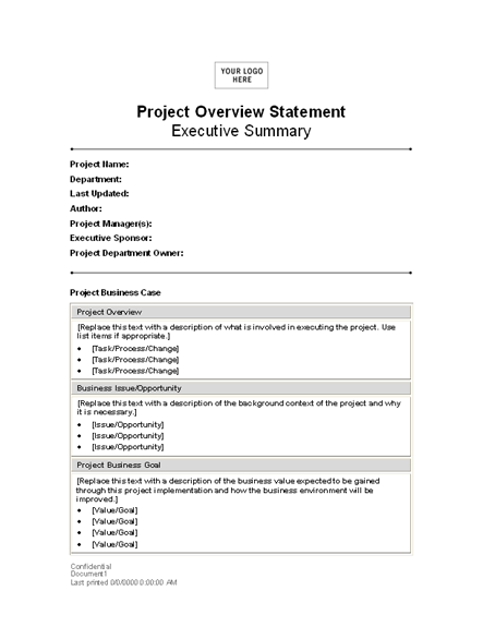 Project Overview Statement Templates Free Download  Project Summary Template