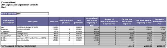 capital asset depreciation schedule schedules templates. Black Bedroom Furniture Sets. Home Design Ideas