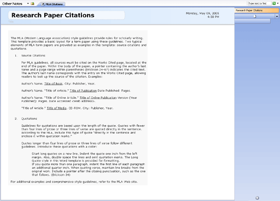 MLA citations format for term paper free download