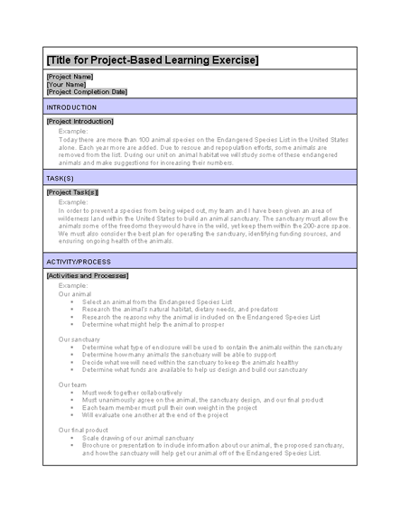 Project Based Learning Example Exercise free download
