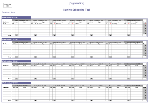 Nursing Scheduling Spreadsheet Schedules Templates