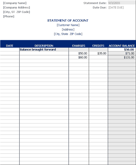 Statement Account Template