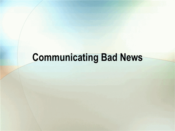 Presentation of bad news free download