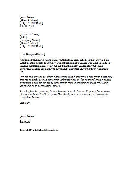 cover letter with referral from mutual acquaintance cover