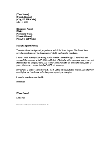 Manager cover letter free download