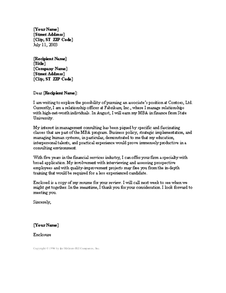 Attractive Management Consultant Cover Letter Templates Free Download
