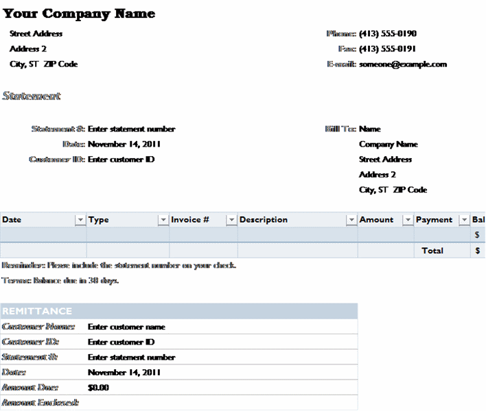Billing Statement Templates Free Download  Bill Statement Template