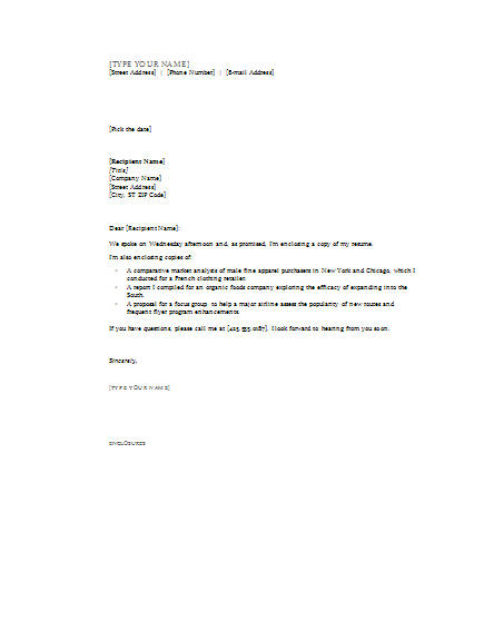 cover letter with enclosures cover letters templates