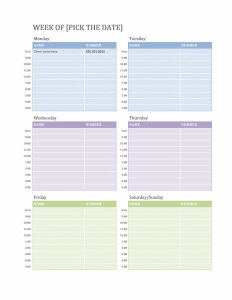 Weekly Appointment Calendar Schedules Templates