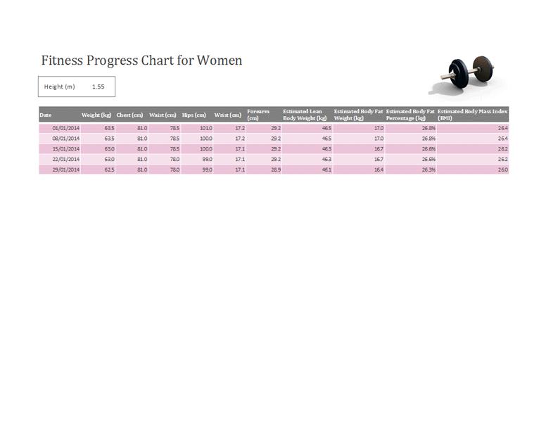 Fitness Progress Tracker For Women (metric)