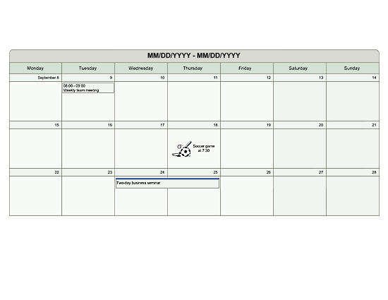 Multi-week planner (U.S. units) free download