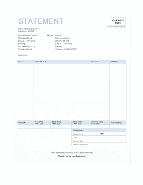 Billing statement (Blue Background design) free download