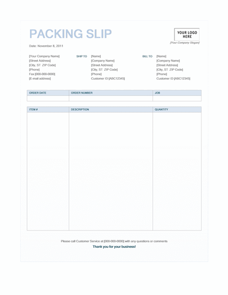 Packing slip (Blue Background design) free download