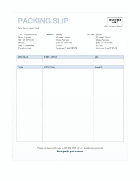 Packing slip (Blue Background design) free download