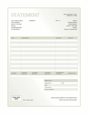 Billing statement (Green Gradient design) free download