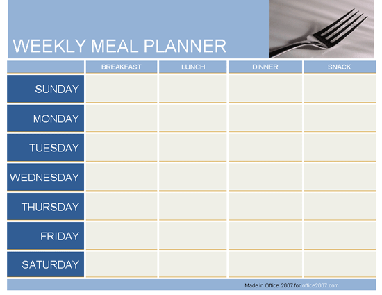 Weekly meal planner planners templates for Office planner online