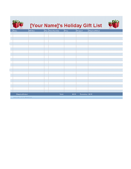 Holiday shopping planner free download