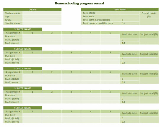 Home Schooling Progress Record free download