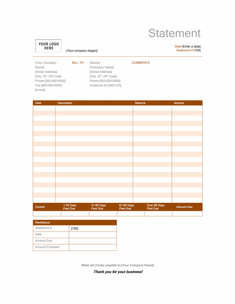 Billing statement (Rust design) free download