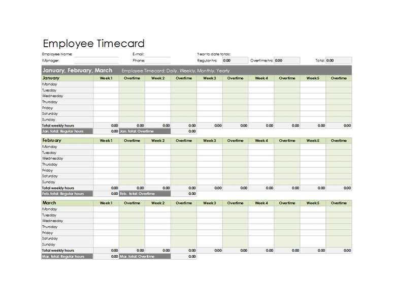 Employee Timecard Excel Template free download