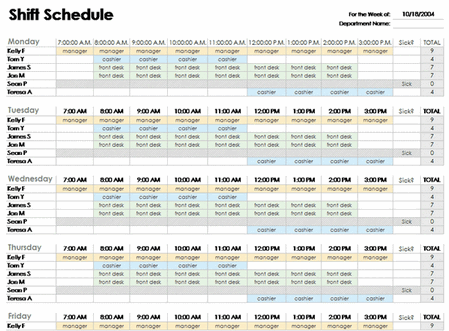 Excel Employee Schedule Template free download