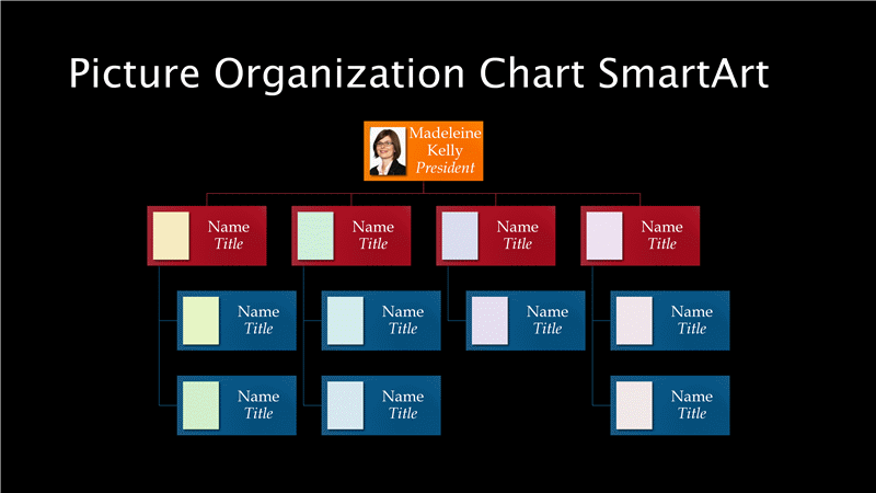 Powerpoint Multicolor Picture Slide Chart for Organization free download