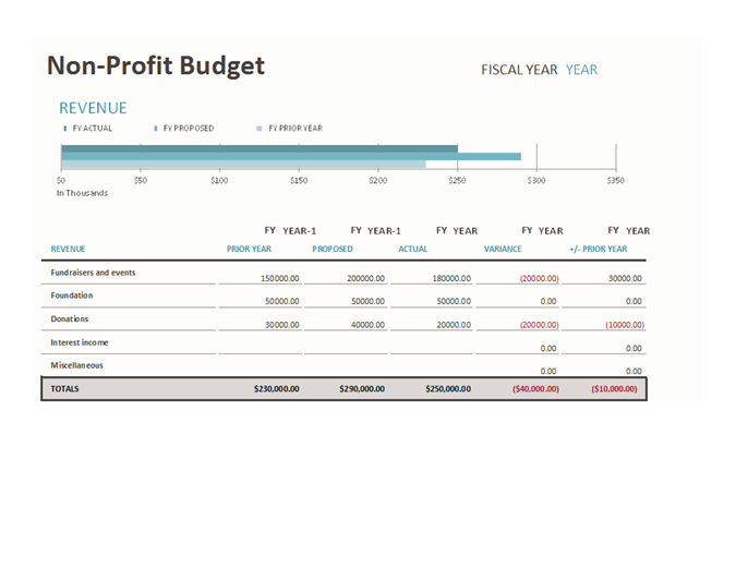 Non-profit Budget with Fundraising Template free download