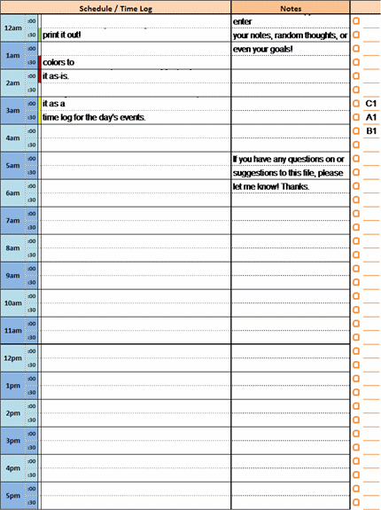 24 Hour Daily Planner Or Time Log With Notes And Prioritized Task List