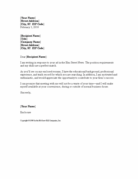 cover letter template in word 2007 | 100+ Cover Letter Examples
