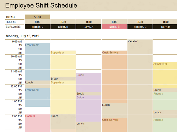 Employee Shift Schedule Excel