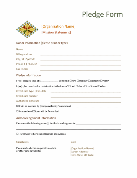 Donation Pledge Form Templates Microsoft Word free download