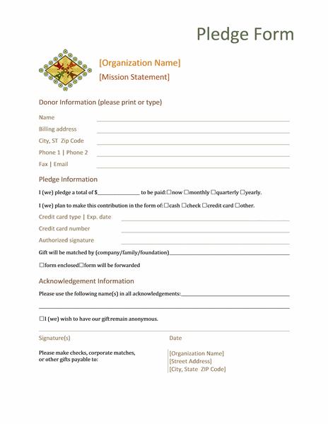 pledge forms donation pledge form template - Solid.graphikworks.co