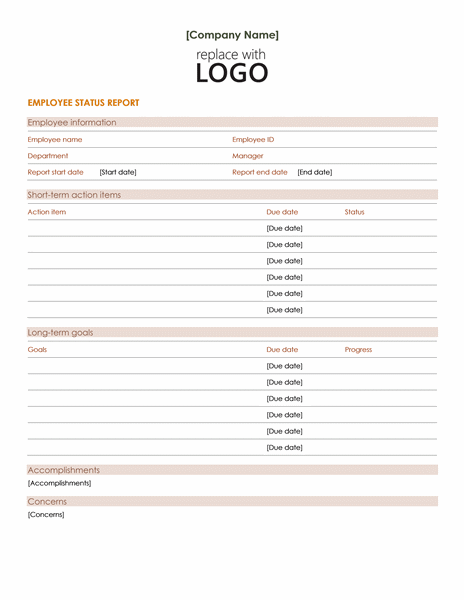 Employee Status Report Template Word free download