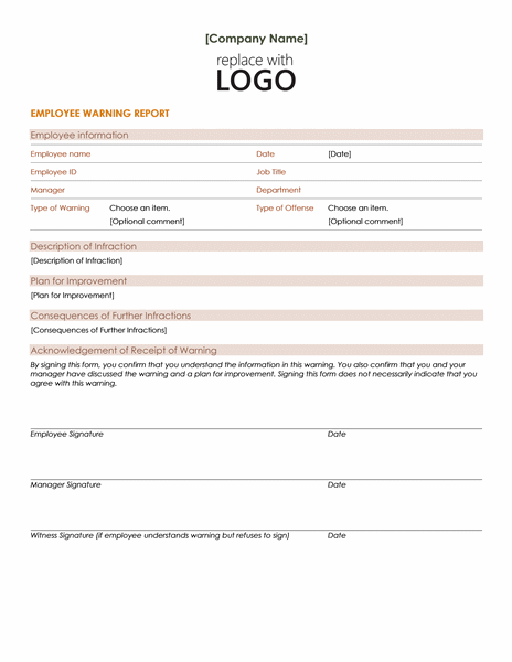 Employee Warning Notice Word Doc free download