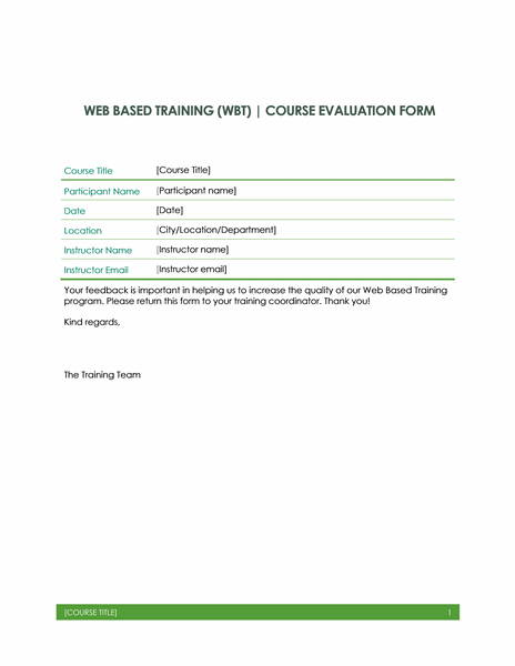 Training Evaluation Form Template in Web Based Application free download