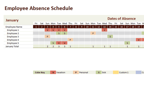 Employee Absence Schedule 2013 2014 2015 2016 free download