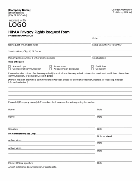 HIPAA Privacy Rights Request Form Template Microsoft Word free download