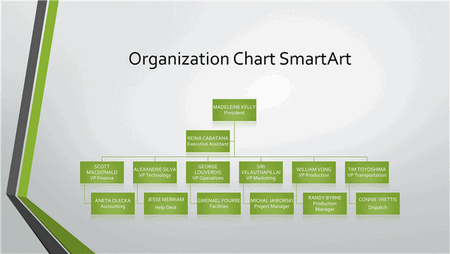 Powerpoint Organizational Grey Chart with Green Border free download