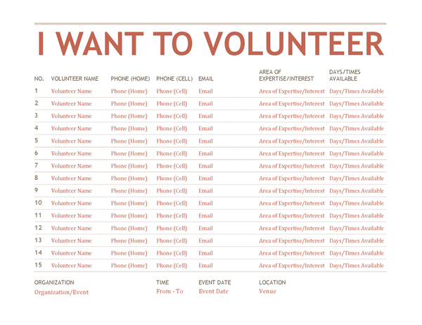 Volunteer Registation and Sign-up Sheet Template free download