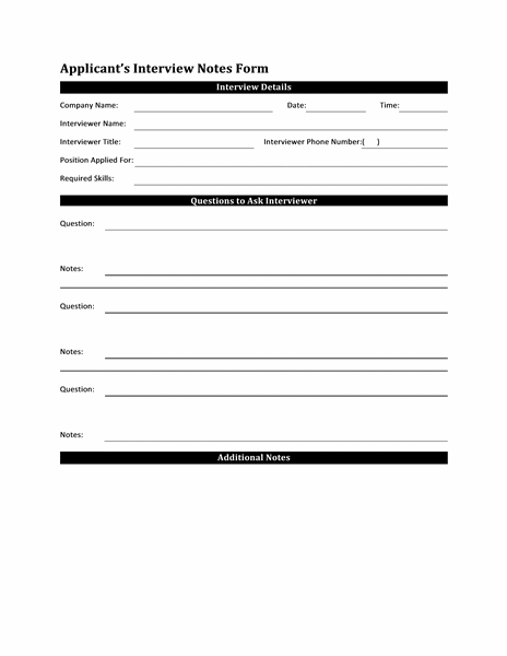 Interview Notes Form Template for Applicant free download