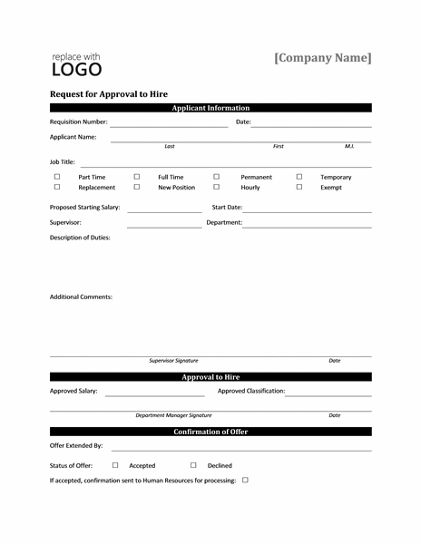 Job Work Hire Approval Request Form Templates Microsoft Word